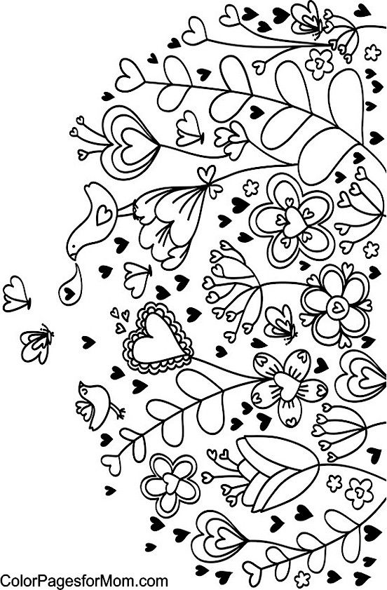 Hearts Coloring Page Embroidery Drawings Pinterest