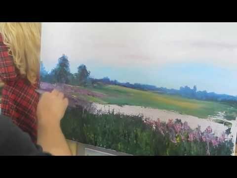 Игорь Сахаров, летний пейзаж мастихином, масляная живопись, уроки, курсы 1
