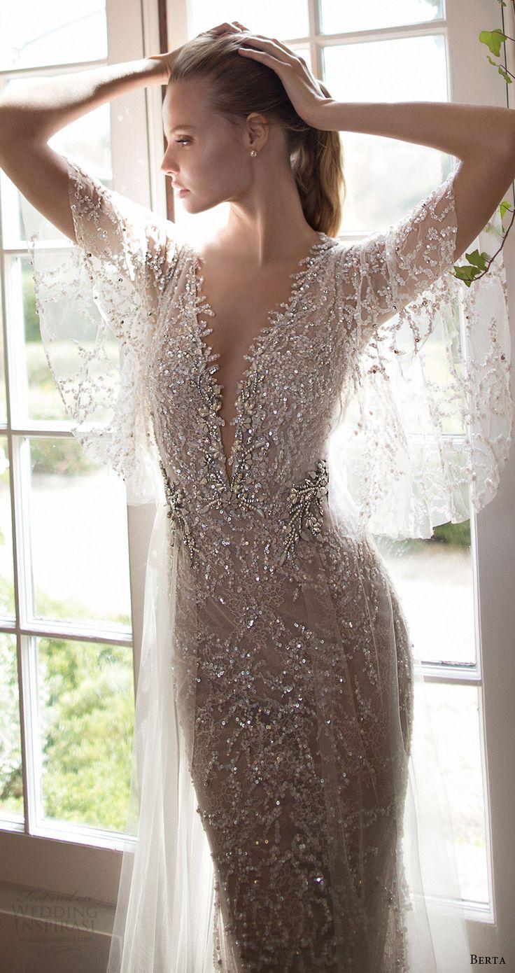 berta bridal fall 2016 illusion flutter sleeves deep vneck embellished kaftan wedding dress (16 110) mv