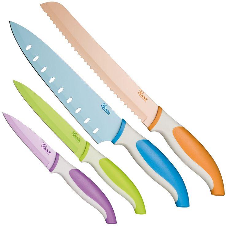 Het nieuwe gemak in de keuken. De Profi 4-delige Messenset is onmisbaar in uw keuken.  Mooi, vormgegeven messen met een scherpe snede, u heeft nog nooit zo makkelijk door uw vlees en groenten gesneden!