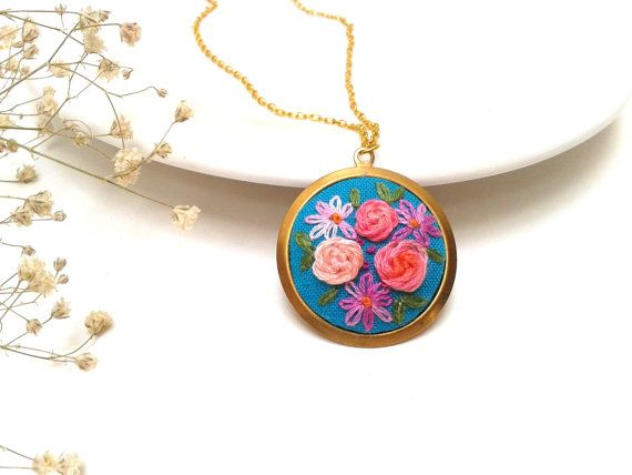 Abigail Floral colorful  Necklace with Embroidered by ConeBomBom