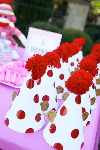Girly Sock Monkey Themed Birthday Party--love the polka dot hats with monkey