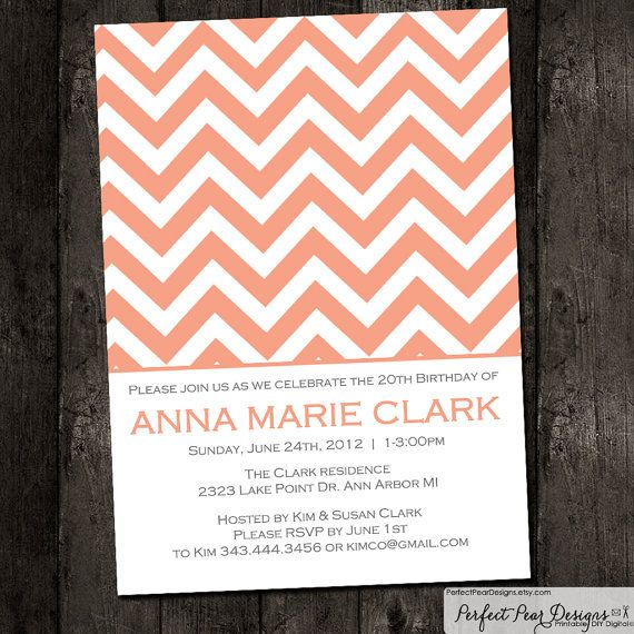 Birthday Party Invitation, Simple Chevron Theme