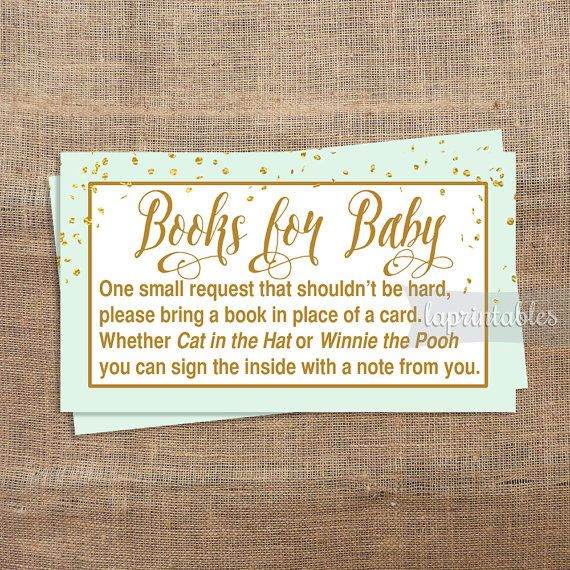 Mint Green Baby Shower Book Request, Printable Mint & Gold Confetti Invite Insert, Gender Neutral, Books for Baby, INSTANT DOWNLOAD