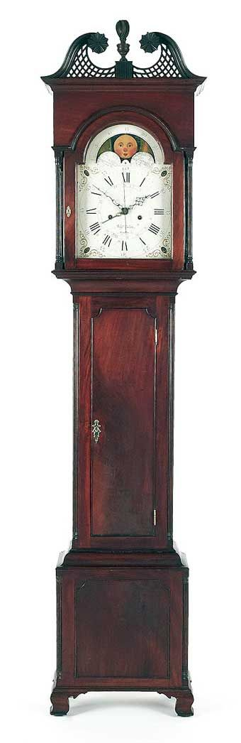 """Chester County, Pennsylvania Chippendale mahogany tall case clock, ca. 1795, the eight-day works, signed Benj Garrett Goshen, retaining an old mellow surface, 94 1/4"""" h. Illustrated in Schiffer Furniture and its Makers of Chester County, Pennsylvania, fig. 47. Sold at Pook and Pook January 13-14, 2012."""