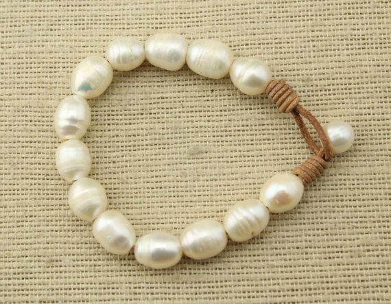 ETS-B100 Handmade freshwater pearl beaded leather bracelet,leather pearl bracelet,cord bracelet,Valentine's Day gift