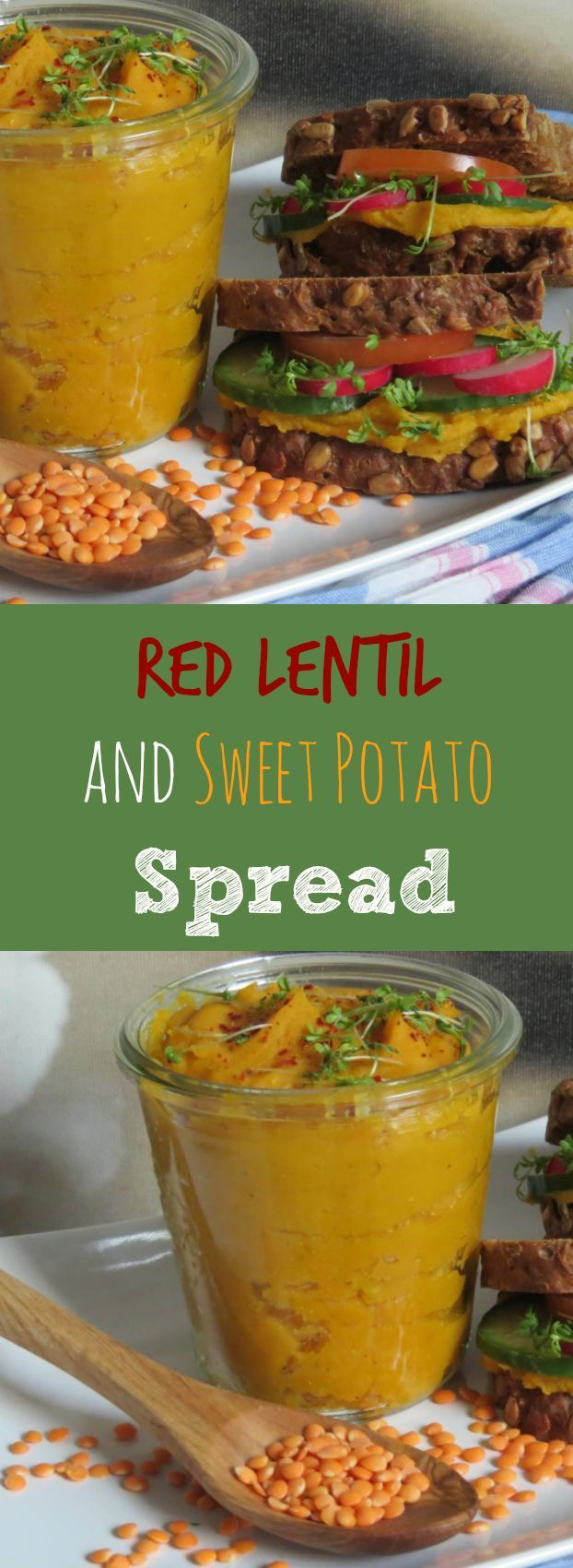 This #vegan red lentil and sweet potato spread is great on sandwiches or as a dip with veggie sticks!