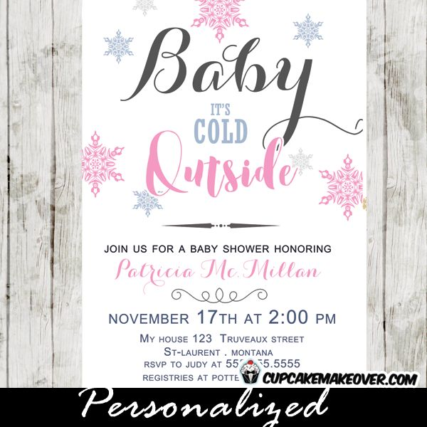 Winter Baby Shower Invitations, Pink Snowflakes, Baby Itu0027s Cold Outside