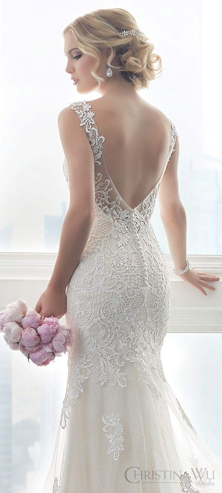 christina wu brides spring 2017 bridal sleeveless illusion straps vneck fully lace embellished trumpet wedding dress (15625) zbv train romantic elegant -- Christina Wu Spring 2017 Bridal Trends That Will Make You Swoon!