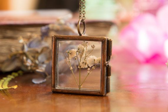 Real Baby's Breath Flower PendantBronze Locket by LomharaJewellery
