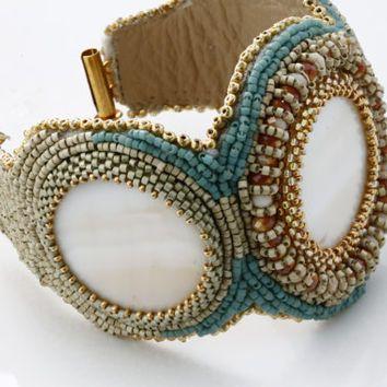 Cuff Bracelet / Hand Beaded Bracelet / Statement Trend Bracelet by Kalitheo / KTC-142