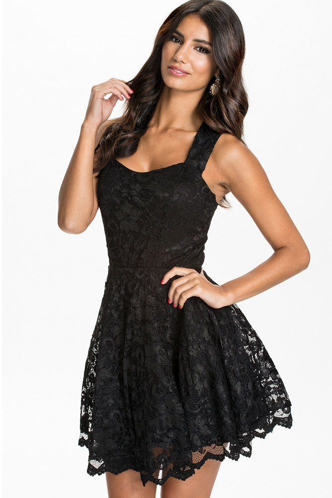 Mod Black Lace Mild Sweetheart Neckline Her Fashion Party Skater Dress