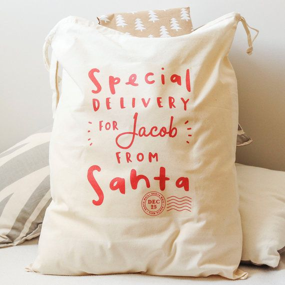 Santa Sack  Personalised Santa Gift Sack  por OldEnglishCo en Etsy