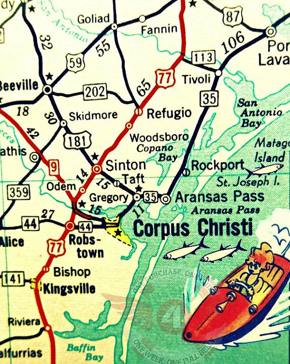 Corpus Christi is a vibrant new 11x14 or 16x20 photograph of a vintage Texas map, its altered and embellished with great retro colors and modern