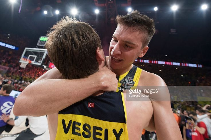 Bogdan Bogdanovic, #13 of Fenerbahce Istanbul and Jan Vesely, #24 of Fenerbahce Istanbul celebrates during the 2017 Final Four Istanbul Turkish Airlines EuroLeague Champion Trophy Ceremony at Sinan Erdem Dome on May 21, 2017 in Istanbul, Turkey.