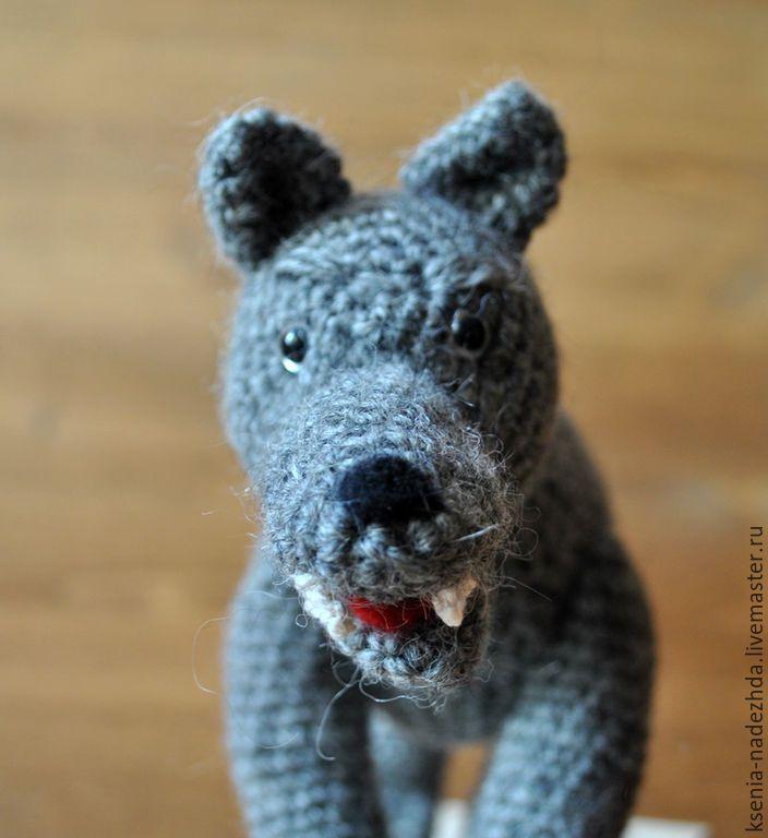 """Купить Вязаная игрушка """" Серый волк"""" - вязаная игрушка, игрушка для ребенка, вязаные животные"""