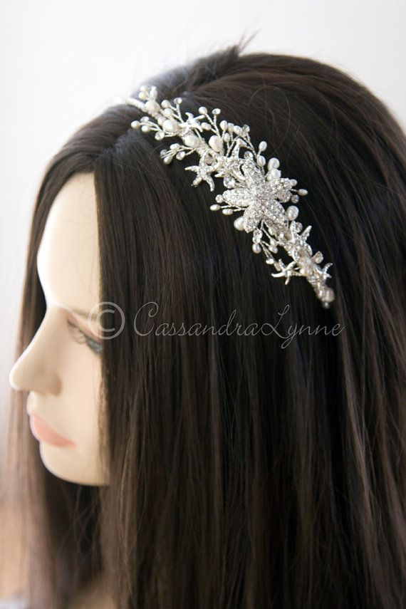 Beach Theme Bridal Headband With Rhinestone By CassandraLynne