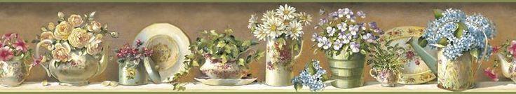 Brewster Wallpaper FFR05101B Brown Gardeners Tea Set Border