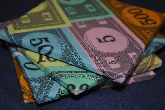 8 Monopoly Money Coasters reserved for buyer by WonderWallets