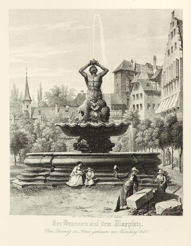 Der Brunnen Auf Dem Marplatz Von Bromig In Stein Gehauen Zu
