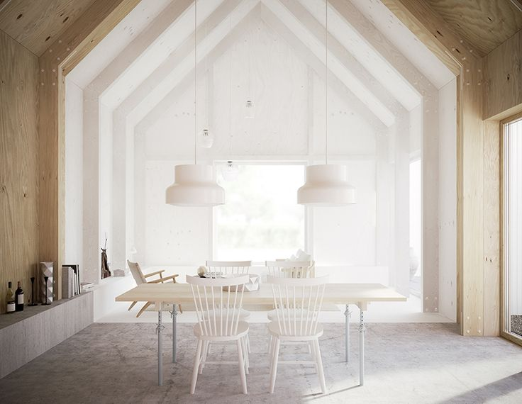 This house for Mother in Linköping, Sweden has polished concrete flooring, a gabled rood, plywood interior, light table and chairs and dual white hanging light fixtures.