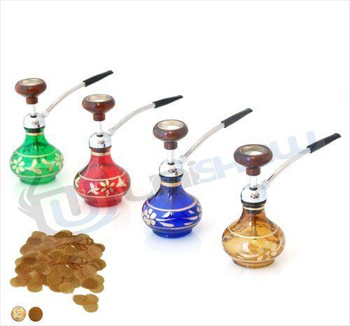 "Mini 5"" Mini Hookah with 100 Brass Pipe Screens Assorted Colors"