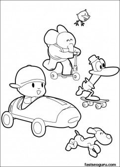 Coloring pages print out Pocoyo Pato and Elly has race - Printable Coloring Pages For Kids