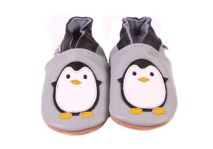 Chaussons pour bébé Lookidz modèle Pingouin - http://www.lilinappy.fr/chaussons-en-cuir-lookidz-pingouin.html