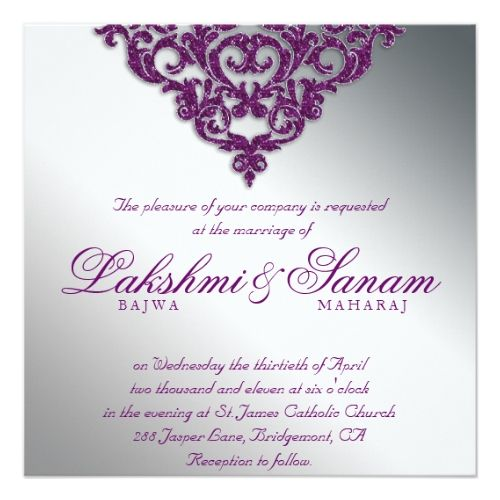 Silver Glitter Wedding Save the Date Cards Damask Wedding Glitter Silver Purple Bright Card