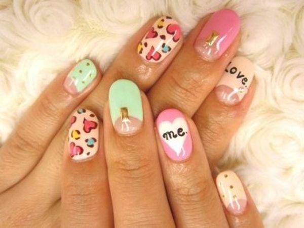 diseño de uñas para san valentin dia
