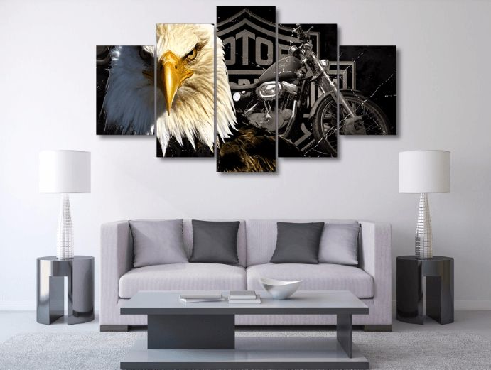 Style Your Home Today With This Amazing 5 Panel American Eagle Harley Davidson Framed Wall Canvas Art For $99.00 Discover more canvas selection here http://www.octotreasures.com If you want to create a customized canvas by printing your own pictures or photos, please contact us.