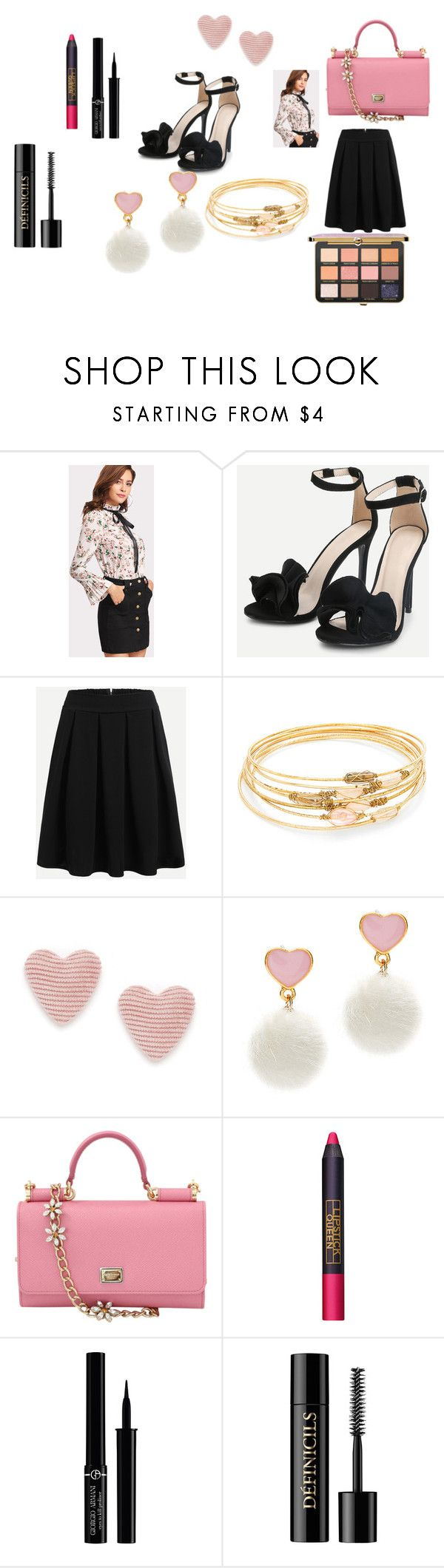 """""""Shein"""" by explorer-14484921021 ❤ liked on Polyvore featuring Dolce&Gabbana, Lipstick Queen, Giorgio Armani and Lancôme"""