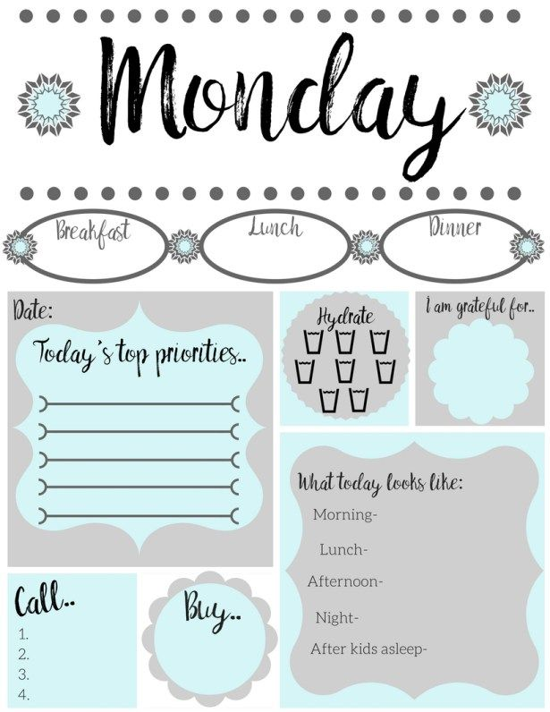 Free printable daily to-do list. All 7 days included. Great for moms to stay organized. Easy free printable.