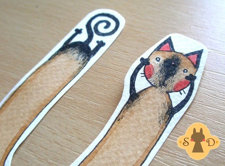 Cat u mark bookmark with a siamese cat hand painted for Siamese 9 electric motor