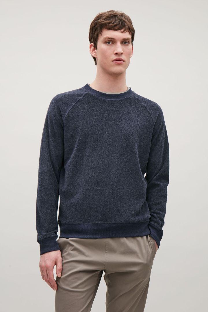 COS image 2 of Terrycloth sweatshirt in Steel Blue