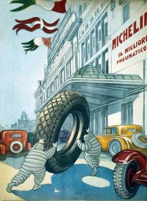 VintageArte♥ - Italian Michelin Bibendum Tire Poster : Posters and Framed Art Prints Available