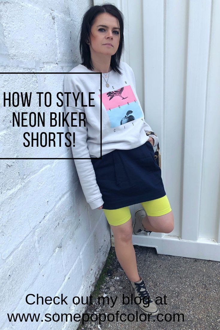 Neon green biker shorts, navy mini skirt with neon green biker shorts sneakers a… –  #Biker…   – Biker Shorts Outfit Casual