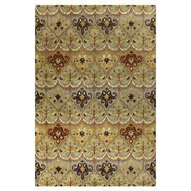 Wool rug with an ikat-inspired motif. Handmade in India.    Product: RugConstruction Material: 100% WoolColor: Light greenFeatures:  Made in IndiaHandmade Note: Please be aware that actual colors may vary from those shown on your screen. Accent rugs may also not show the entire pattern that the corresponding area rugs have.Cleaning and Care: Vacuum regularly. Spot cleaning recommended.