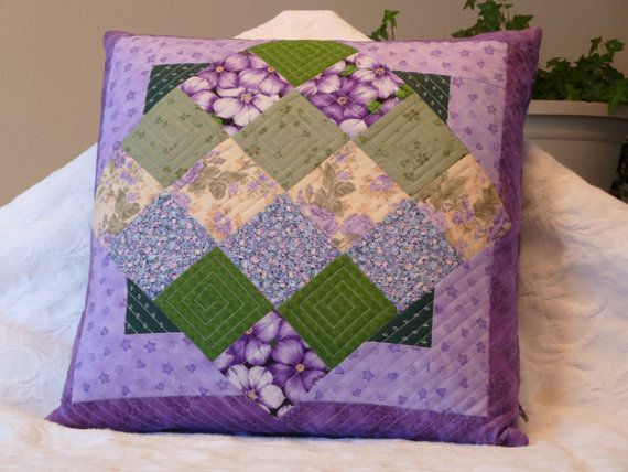 Purple, yellow, green quilted pillow cover