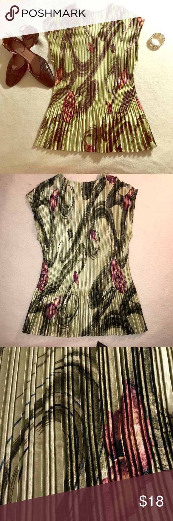 Women's pleated Top Super COMFY, lightweight shell has beautiful floral print. Can be worn alone or under your favorite cardigan or jacket! 100% Polyester. Hand wash cold water and hang dry. Tops
