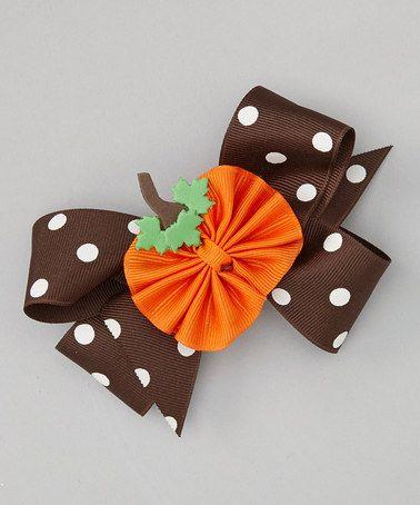Loving this Brown Polka Dot Pumpkin Bow Clip Set on #zulily! #zulilyfinds