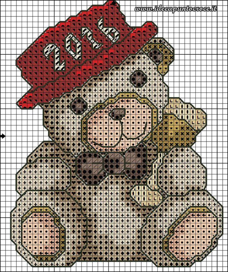 schema punto croce Teddy Thun  natalizio