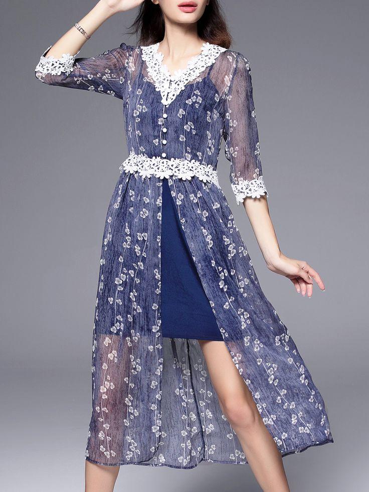 Shop Blue V Neck Backless Split Print Dress online. SheIn offers Blue V Neck Backless Split Print Dress & more to fit your fashionable needs.