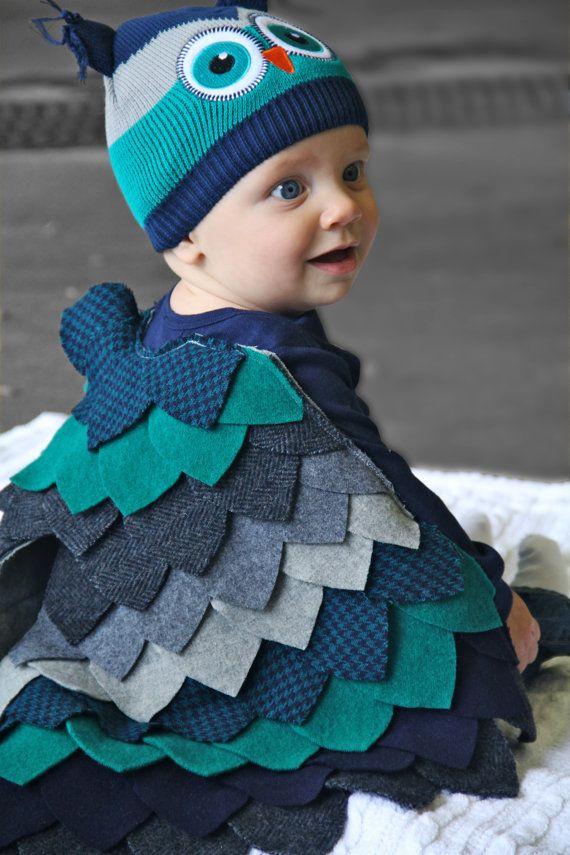 baby owl costume halloween bodysuit wings by repurposedwoolstudio - Baby Owl Halloween Costumes