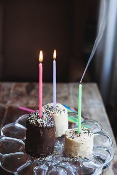 chocolate birthday mini cakes with mocha and tahini frosting