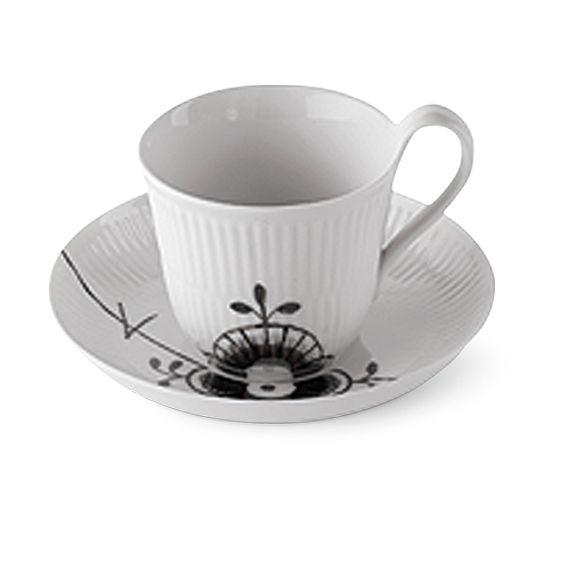 Royal Copenhagen Black Fluted Mega High handle cup & saucer