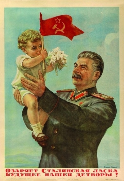 Hard to believe this child-loving man - Stalin - killed over 20 million. Oh, wait, no it's not... that's why he needed posters like this.