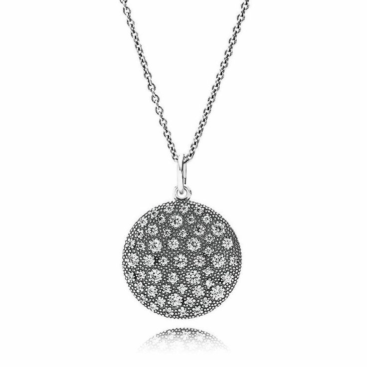 Silver pendant with cubic zirconia and necklace @officialpandora