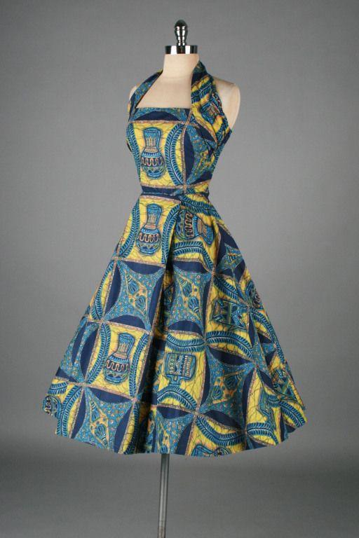 wax dress. no manufacturer | Vintage 1950's Cotton Hawaiian Pottery Novelty Print Dress