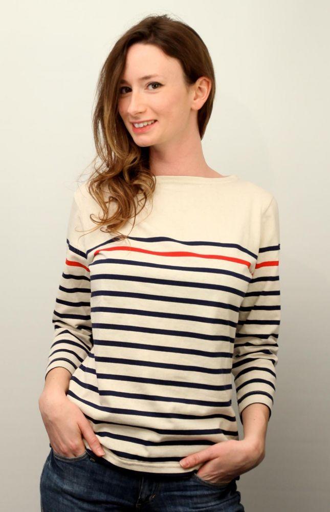 Ladies Red Navy Blue Striped Nautical Breton Top